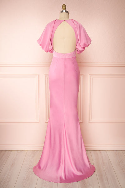 Eirwen Pink Satin Puffy Sleeve Flared Dress | Boutique 1861 back view