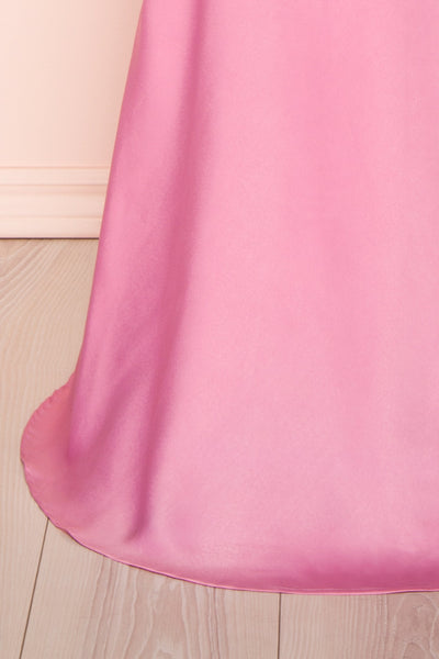 Eirwen Pink Satin Puffy Sleeve Flared Dress | Boutique 1861 bottom