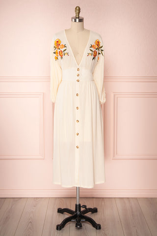 Eithliu Beige Button-Up Midi Dress w/ Embroidery | Boutique 1861