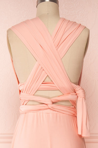 Elatia Blush Light Pink Convertible Dress back close up cross | Boudoir 1861 fifth look close-up