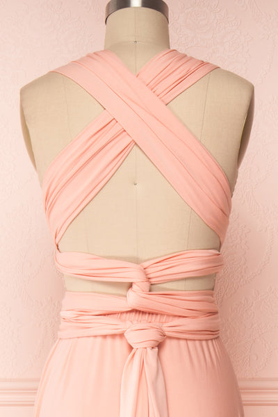 Elatia Blush Light Pink Convertible Dress back close up knot | Boudoir 1861 sixth look close-up