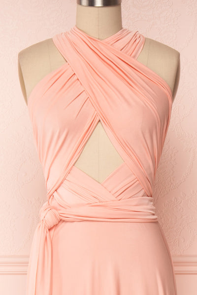 Elatia Blush Light Pink Convertible Dress front close up cross | Boudoir 1861 second look close-up