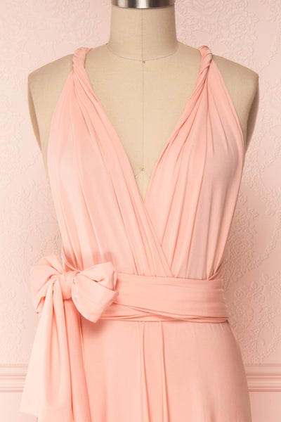 Elatia Blush Light Pink Convertible Dress front close up side bow | Boudoir 1861 first look close-up