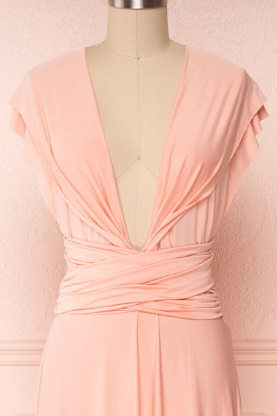 Elatia Blush Light Pink Convertible Dress front close up shoulder | Boudoir 1861 fourth look close-up