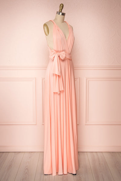 Elatia Blush Light Pink Convertible Dress side view | Boudoir 1861 side view