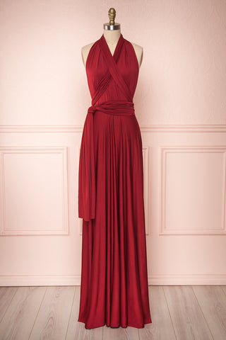 Elatia Bourgogne Burgundy Convertible Maxi Dress | Boudoir 1861