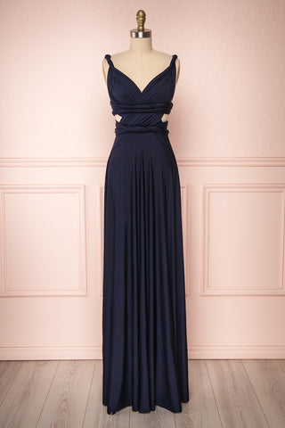 Elatia Marine Navy Blue Convertible Maxi Dress | Boudoir 1861