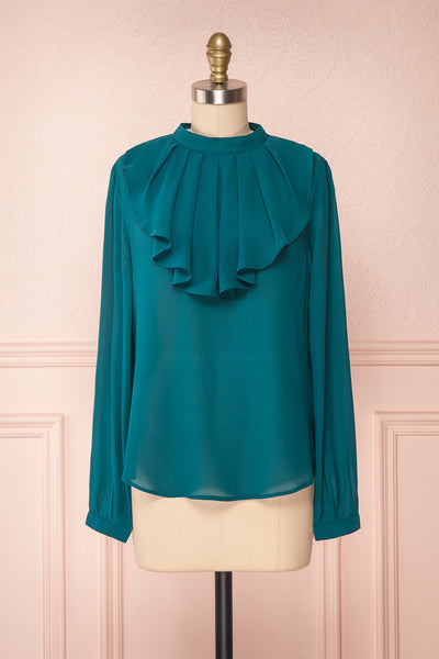 Eliana Emeraude Green Blouse with Ruffles | Boutique 1861 front view