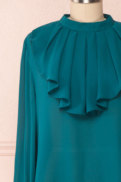 Eliana Emeraude Green Blouse with Ruffles | Boutique 1861 front close-up