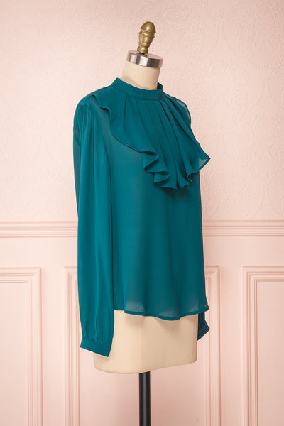 Eliana Emeraude Green Blouse with Ruffles | Boutique 1861 side view