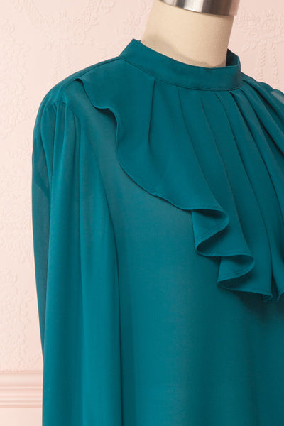 Eliana Emeraude Green Blouse with Ruffles | Boutique 1861 side close-up