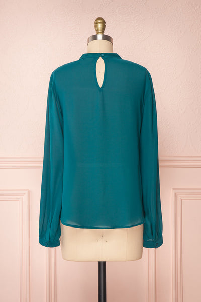 Eliana Emeraude Green Blouse with Ruffles | Boutique 1861 back view