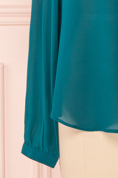 Eliana Emeraude Green Blouse with Ruffles | Boutique 1861 bottom close-up