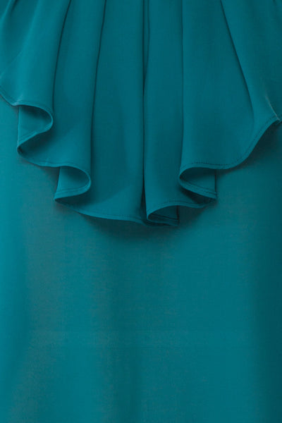 Eliana Emeraude Green Blouse with Ruffles | Boutique 1861 fabric detail