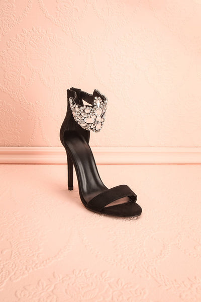 Elzèvir Charbon Black High Heeled Sandals with Crystal | Boutique 1861