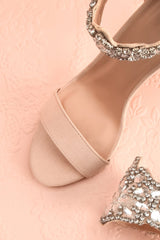 Elzèvir Sable Beige High Heeled Sandals with Crystal | Boutique 1861