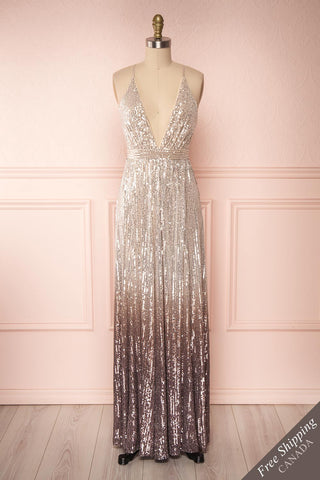 Emerentine Taupe Ombre Sequin Gown | Robe front view FS | Boutique 1861