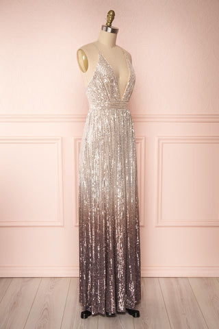 Emerentine Taupe Ombre Sequin Gown | Robe side view | Boutique 1861