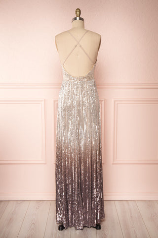 Emerentine Taupe Ombre Sequin Gown | Robe back view | Boutique 1861