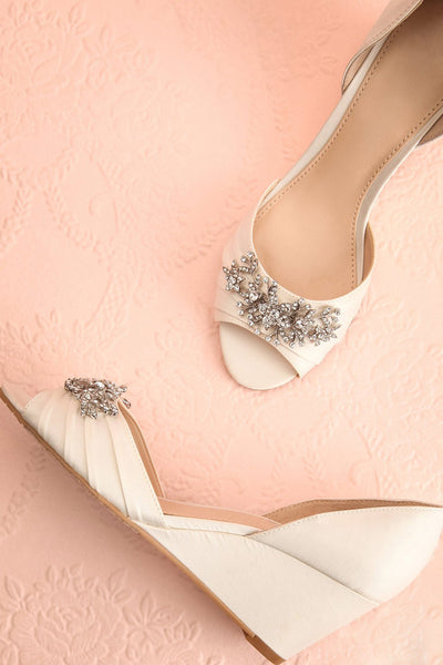 Emiko White Satin Peep-Toe Wedge Heels | Boudoir 1861