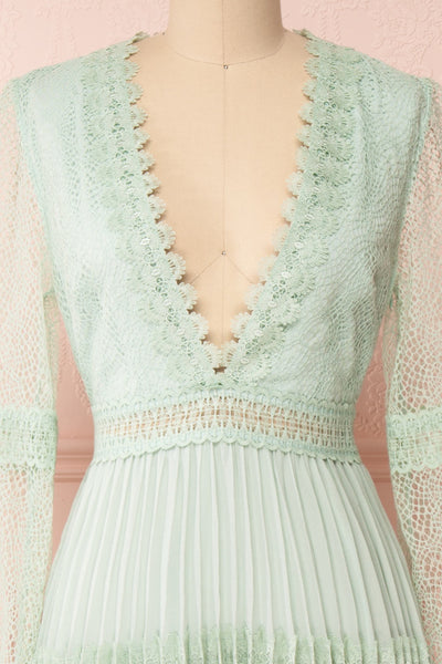 Emma-Rose Mint Green Summer Midi Dress | Boutique 1861 front close-up