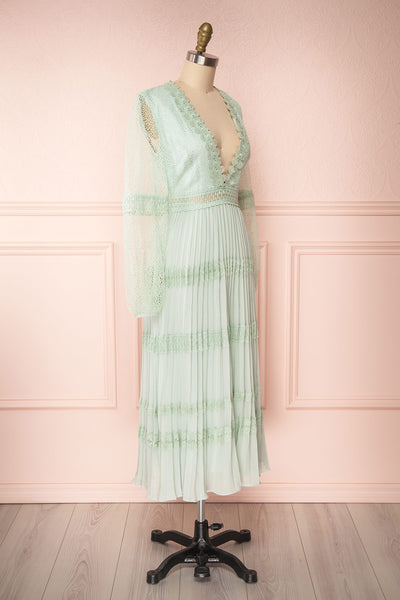 Emma-Rose Mint Green Summer Midi Dress | Boutique 1861 side view