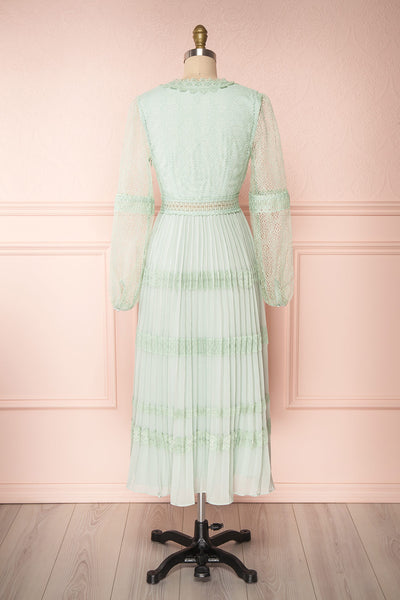 Emma-Rose Mint Green Summer Midi Dress | Boutique 1861 back view