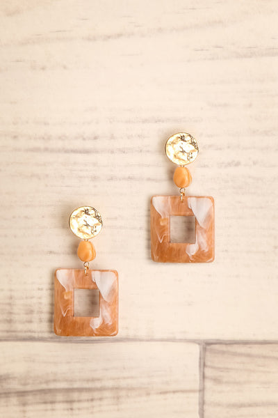 Emmylou Harris Brown Marbled Pendant Earrings | La Petite Garçonne