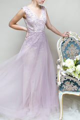 Emmylou Lilac & Beige Lace Mermaid Gown | Boutique 1861