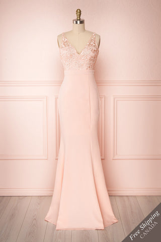 Eniwa Rose Pink Mermaid Gown with Lace | Boudoir 1861