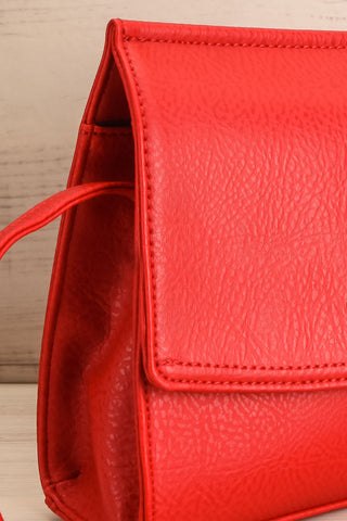Erika Ruby Red Matt & Nat Crossbody Bag side close-up | La Petite Garçonne