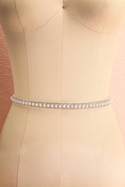 Etiennette White Ribbon Belt w/ Pearls & Crystals | Boudoir 1861
