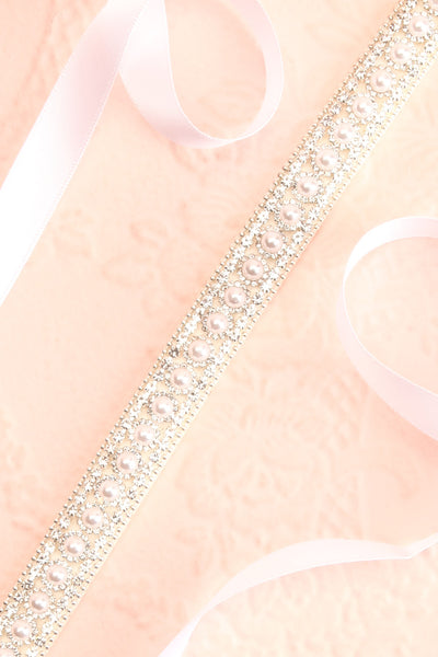 Etiennette White Ribbon Belt w/ Pearls & Crystals | Boudoir 1861 close-up