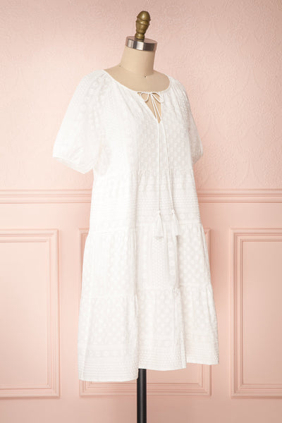 Eunyce White A-Line Dress w/ Embroidery | Boutique 1861 side view