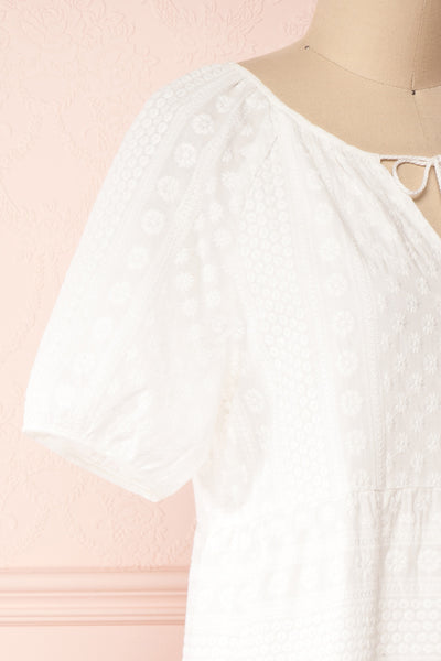 Eunyce White A-Line Dress w/ Embroidery | Boutique 1861 side close-up