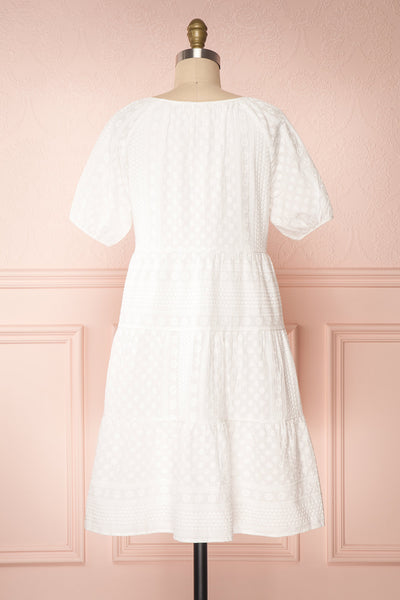 Eunyce White A-Line Dress w/ Embroidery | Boutique 1861 back view