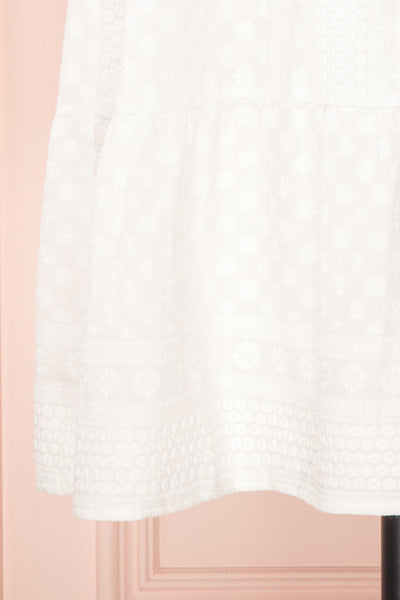 Eunyce White A-Line Dress w/ Embroidery | Boutique 1861 bottom close-up