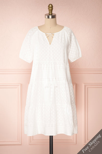 Eunyce White A-Line Dress w/ Embroidery | Boutique 1861 front view