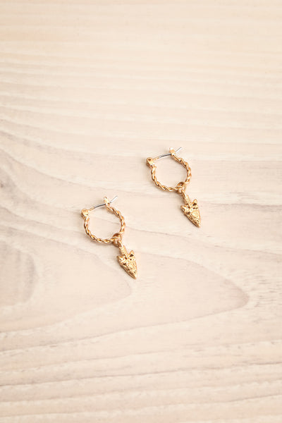 Euphyllia Golden Hoop Earrings with Arrow | La Petite Garçonne