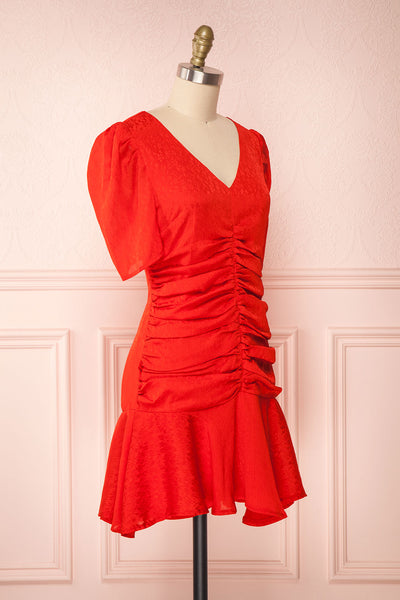 Eustacia Red Ruched Drop Waist Dress | Robe | Boutique 1861 side view