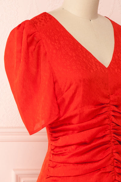 Eustacia Red Ruched Drop Waist Dress | Robe | Boutique 1861 side close-up