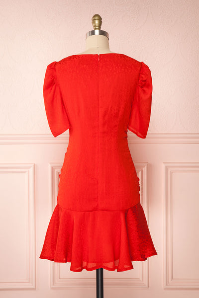 Eustacia Red Ruched Drop Waist Dress | Robe | Boutique 1861 back view