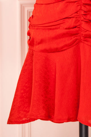 Eustacia Red Ruched Drop Waist Dress | Robe | Boutique 1861 bottom close-up