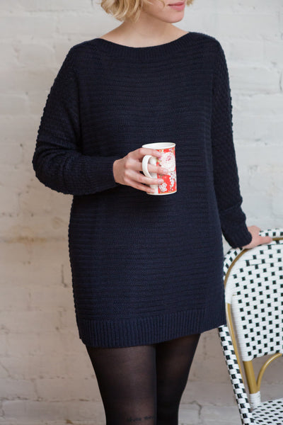 Eutin Navy Blue Long Sleeve Knit Sweater | La petite garçonne model