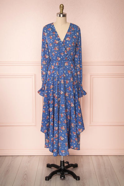 Evelina | Blue Floral Midi Dress