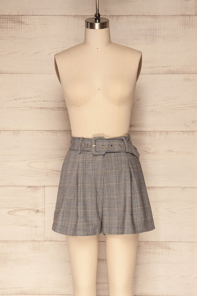 Evosmos Grey Plaid High Rise Shorts | La Petite Garçonne front view