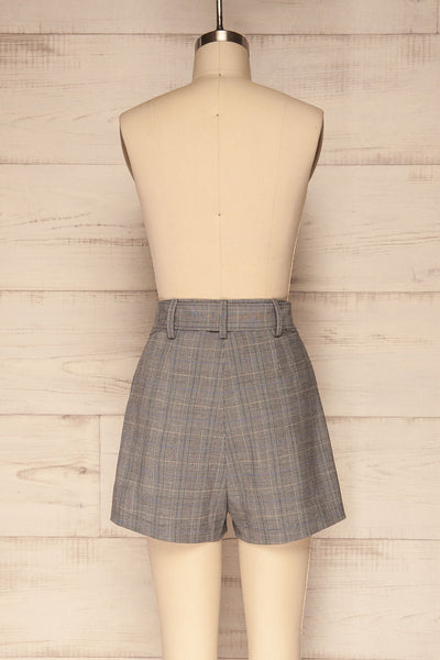 Evosmos Grey Plaid High Rise Shorts | La Petite Garçonne back view
