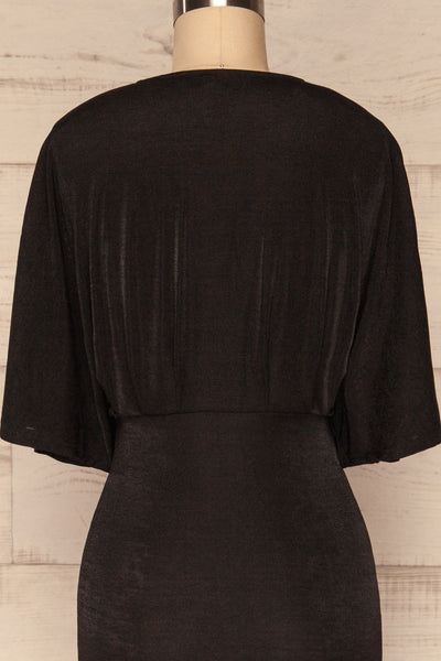 Faaneshavn Black Short Fitted Dress back close up | La Petite Garçonne