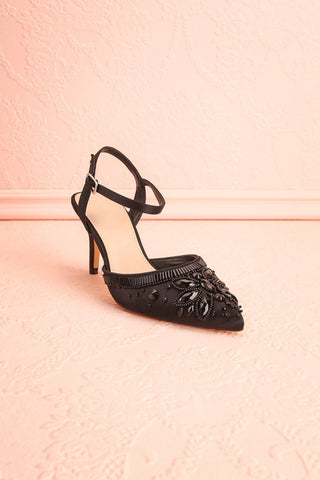 Fabert Secret Black Beaded Pointed Toe Heels | Boudoir 1861 4