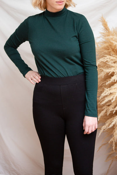 Falejde Green Long Sleeve Mock Neck Top | La petite garçonne model